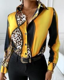 Blusa de oficina en contraste con estampado de leopardo elegante occidental