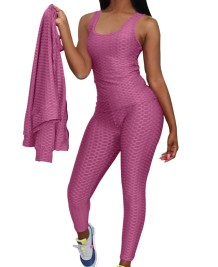 Autumn Sports Fitness Jumpsuit with Matching Jacket