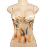 Summer Tie Dye Sexy Push Up Strap Vest