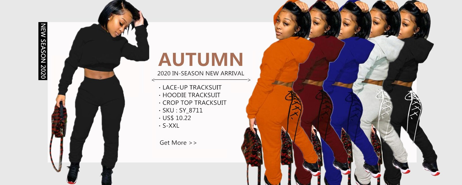 Autumn Solid Color Hoodie Crop Top and Lace Up Track Pants Set