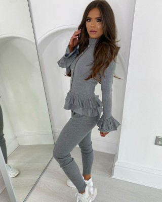 Autumn Matching Knitted Ruffles Top and Pants Set