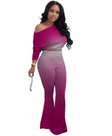 Autumn Matching Gradient Crop Top and Flare Pants Set