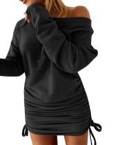 Otoño Sólido Llanura Slash Hombro Fruncido Cuerdas Vestido De Suéter