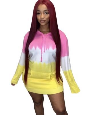 Otoño colorido vestido corto con capucha y bolsillo delantero