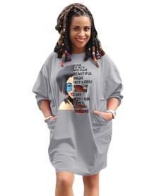 Autumn Character Print Ripped Loose Shirt Dress