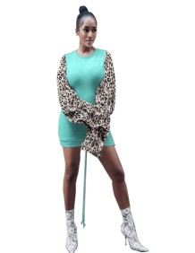 Autumn Round Neck Fitted Shirt Dress with Leopard Sleeves