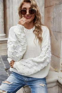 Autumn Solid Plain Pullover Round Neck Loose Sweater