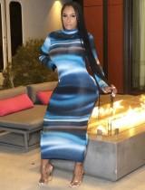 Vestido de tubo largo con efecto tie dye de otoño con mangas completas