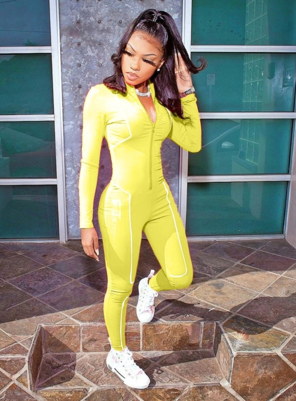 Autumn Fitness Zip Up Long Sleeve Sporty Jumpsuit