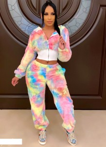 Winter Tie Dye Plüsch Zip Crop Top und Hosen Set