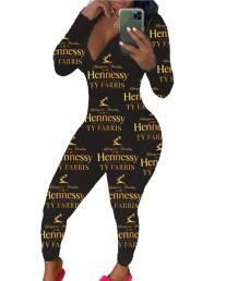 Niedlicher Print Sexy Langarm Jumpsuit