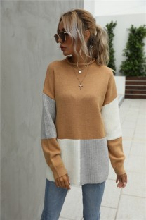Autumn Contrast Color Pullover Round Neck Long Sweater