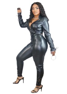 Winter Leather Lace Up Zip Top and Pants Set
