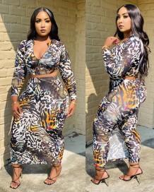 Autumn Matching Print Sexy Wild Crop Top and Long Curvy Skirt Set