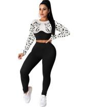Conjunto de pantalón de cintura alta y top corto ajustado con estampado animal a juego de otoño