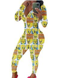 Schattige print sexy jumpsuit met lange mouwen
