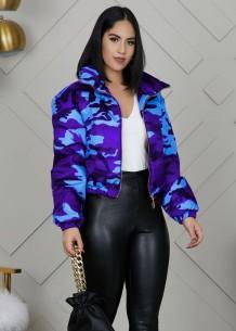 Winter Camou Print Zip Up Short Jacket