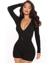 Sexy Black Fitness V-Neck Long Sleeve Bodycon Rompers with Belt