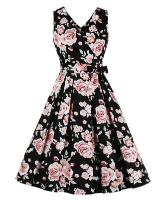 Occasionale abito skater plissettato floreale vintage con scollo a V senza maniche