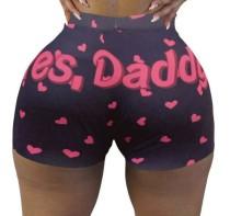 Pantalones cortos deportivos atractivos de cintura alta con estampado lindo