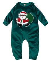 Tuta verde pagliaccetti di Babbo Natale per neonato
