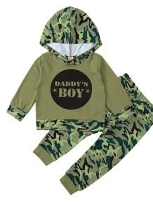 Kids Boy Herbst Camou Print Hoodie Top und Hosen Set