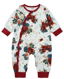 Baby Girl Autumn Button Up Floral Rompers Jumpsuit