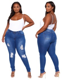 Plus Size High Waist Washed Dnim Blue Ripped Tight Jeans