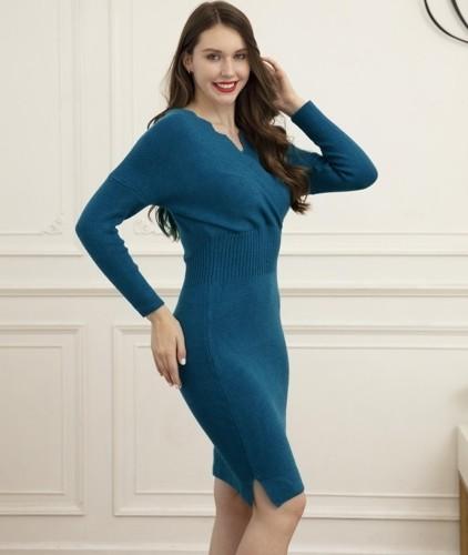 Vestido de festa elegante de cintura alta com decote em V embrulhado outono