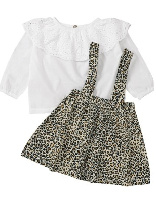 Kids Girl Autumn White Hollow Out Shirt and Leopard Suspender Skirt Set