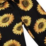 Ensemble chemise et pantalon à fleurs assorties automne fille pour enfants