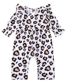 Baby Mädchen Herbst Leopardenmuster Rüschen Strampler Overall