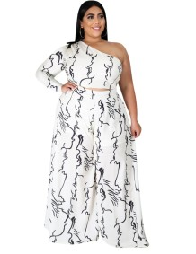 Plus Size Autumn Print One Shoulder Top and Pants Set