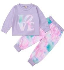 Conjunto infantil de outono com estampa roxa de camisa e calças tie dye