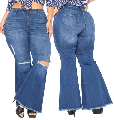 Plus Size High Waist Ripped Flare Jeans