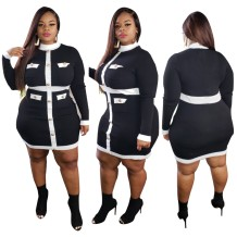 Plus Size Autumn White and Black Long Sleeve Bodycon Dress