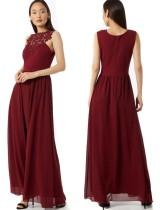 Красное кружевное вечернее платье трапециевидной формы без рукавов с верхом
