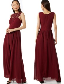 Red Lace Upper Sleeveless A-line Evening Dress