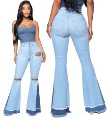 Stijlvolle patchwork flare jeans met hoge taille