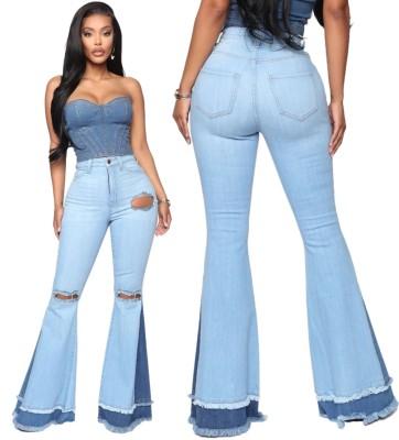 Jeans svasati alla moda patchwork a vita alta