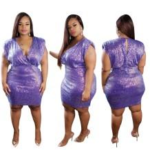 Plus Size Pailletten Ärmelloses Partykleid mit V-Ausschnitt
