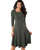 Autumn Solid Plain Tied Vintage Skater Dress with 3/4 Sleeves