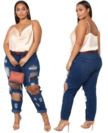 Plus Size High Waist Damaged Jeans