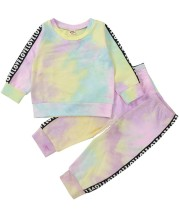 Set camicia e pantaloni tie dye autunno per bambina