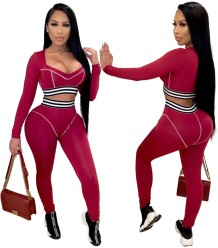Autumn Matching Two Piece Bodycon Crop Top and Pants Set