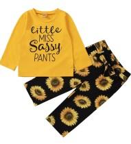 Kinder Mädchen Herbst Matching Print Shirt und Blumenhose Set