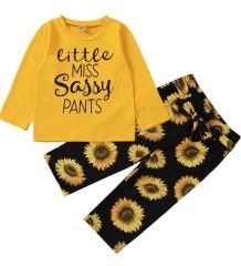 Conjunto infantil de outono com estampa de camisa e calças florais