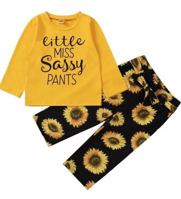 Kids Girl Autumn Matching Print Shirt and Floral Pants Set