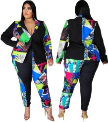 Plus Size Autumn Print Black Blazer and Pants Set