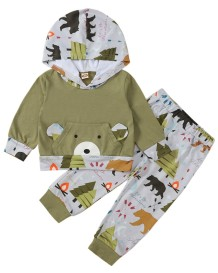 Kids Boy Herbst Animal Print Hoodie Top und Hosen Set
